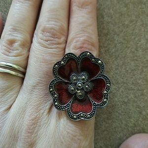 1 Day Sale/Antique ruby enameled, marcasite ring